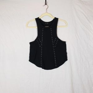 Express Black tank with metal embellishments sz S